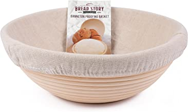 (10 inch) Round Banneton Proofing Basket Set - Brotform Handmade Unbleached Natural Cane For homemade Crusty Fresh, Easy to Bake Bread With Professional Marks Rising dough Bread Kit with washable Clo
