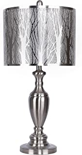 """Grandview Gallery Table Lamp with Laser Cut Shade – Laser Cut Tree Scene with Sparkle White Lamp Shade and Brushed Nickel Body, 27.25"""" Table Lamp for Bedside, End Tables and More"""