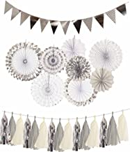 Silver Engagement Decorations, Silver Paper Fans Decorations + Sparkly Paper Pennant Banner Triangle Flags+Tissue Paper Tassels Garland, Silver Party Decoration for Baby Shower, Birthday Party