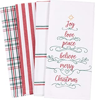 KAF Home Pantry Kitchen Holiday Dish Towel Set of 4, 100-Percent Cotton, 18 x 28-inch (Joy Love Peace Believe Merry Christ...