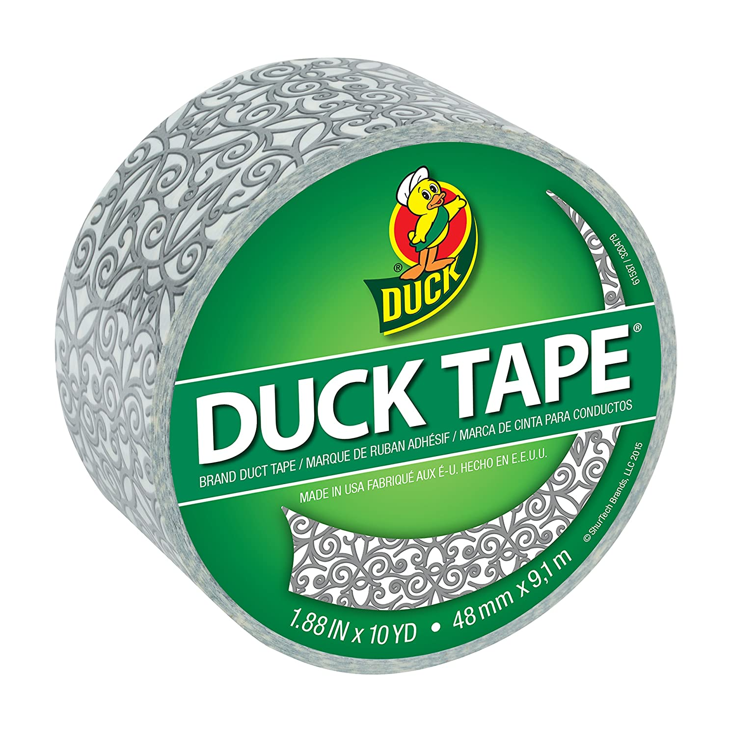 Duck Brand 284170 Printed Duct Tape, Silver Scroll, 1.88 Inches x 10 Yards, Single Roll