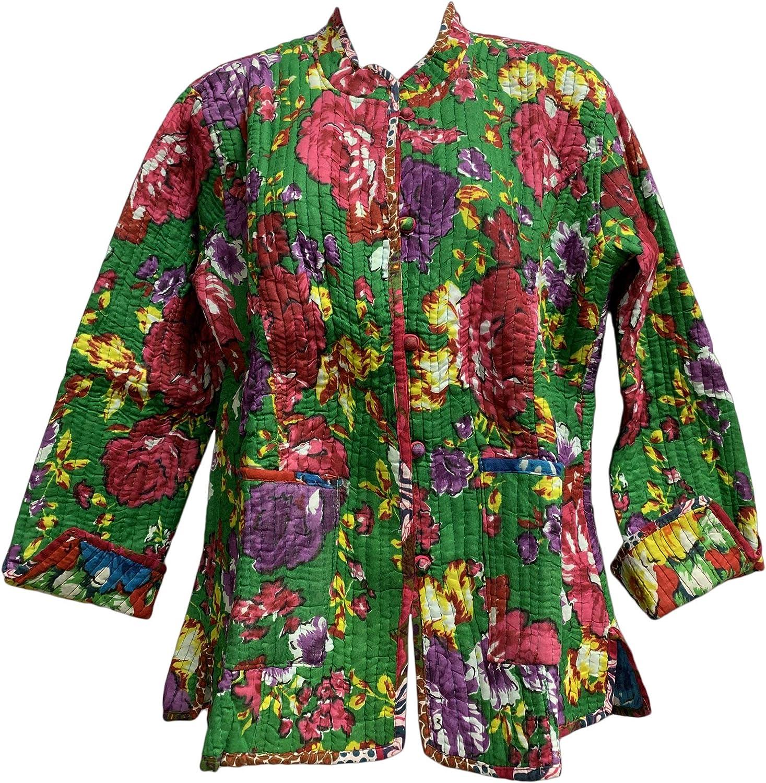 Yoga Trendz Reversible Missy Floral Quilted Cotton Outerwear Jacket Cardigan Blouse JK No3