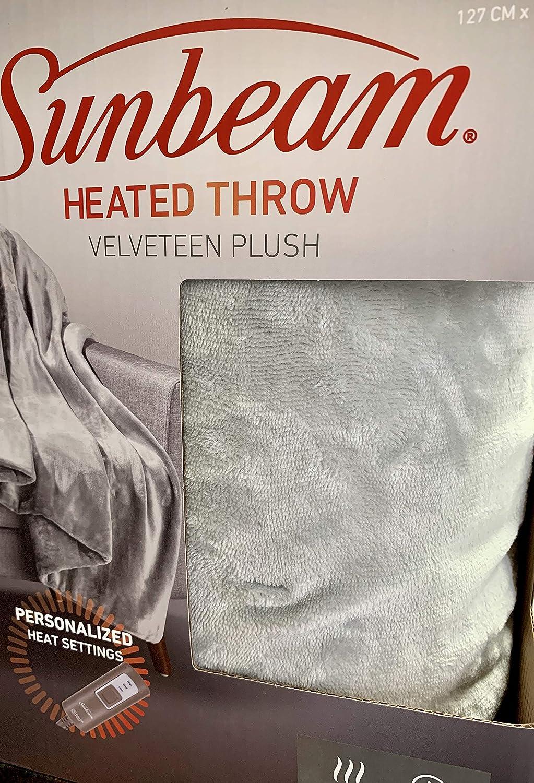 Beige Sunbeam Premium Soft Electric Heated Throw Blanket Velveteen Plush Washable with 3 Heat Settings and Auto Shut-Off,