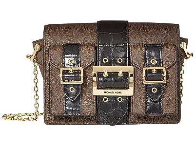 MICHAEL Michael Kors Hayden Medium Pocket Messenger (Brown/Black) Messenger Bags
