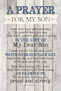 Son Prayer Wood Plaque with Inspiring Quotes 6x9 - Vertical Frame Wall & Tabletop Decoration | Easel & Hanging Hook | Dear Lord, one of The Greatest Gifts You've Given is The Gift of My Dear Son
