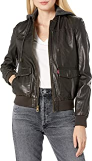 Two-Pocket Faux Leather Hooded Bomber Jacket with Sherpa