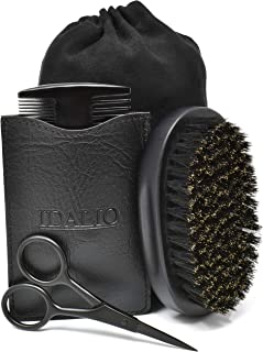 IDALIO Beard Brush and Comb Set for Men Grooming with Natural Boar Bristle Beard Brush Pear Wood Bear Comb and Stainless S...