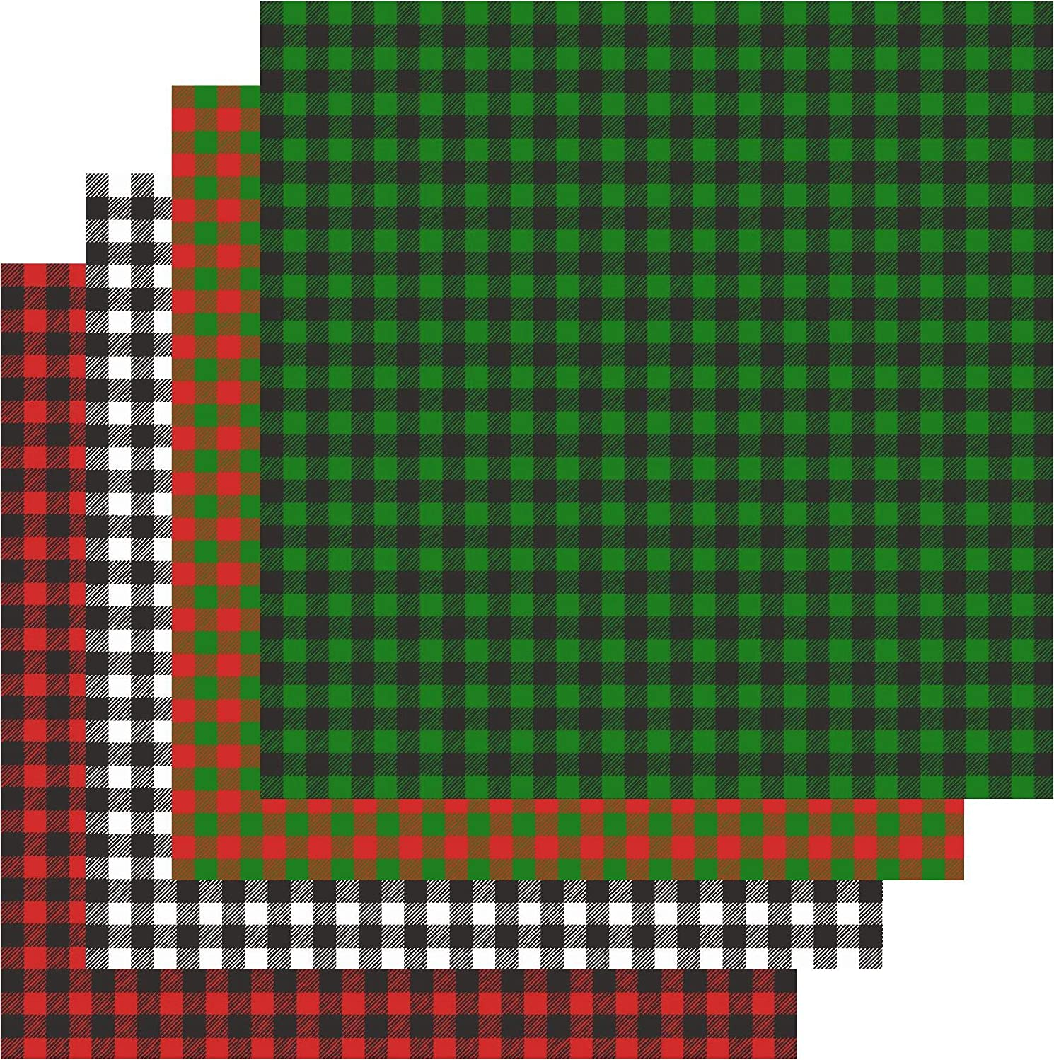 Buffalo Check Vinyl Sheets, Buffalo Plaid Adhesive Vinyl, Red Green Black White, 4-12