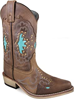 Smoky Mountain Children's Moon Bay Studded Design Snip Toe Brown Distress/Turquoise Boots