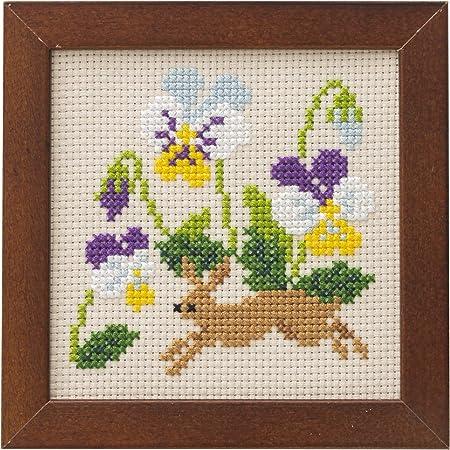LECIEN (ルシアン) 刺しゅうキット かわいいどうぶつと季節のお花 フレーム付きクロスステッチキット うさぎとビオラ, 870