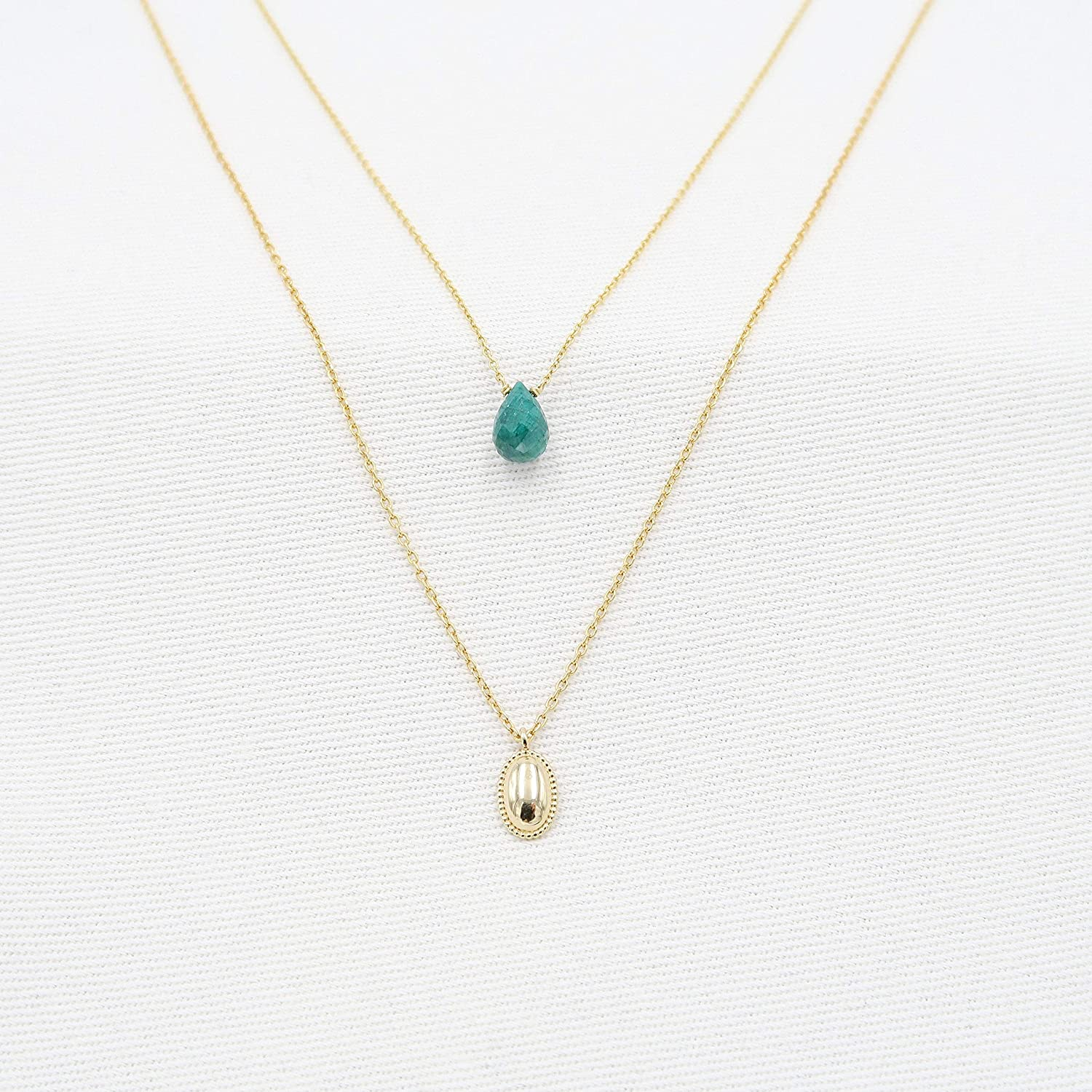 Emerald pendant oval gold disc OFFicial mail order - 14K Pear Gold Yellow Genuine service