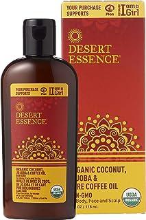 Desert Essence Organic Coconut, Jojoba, and Pure Coffee Oil - 4 Fl Oz - For Body, Face and Scalp - No Oily Residue - Invig...