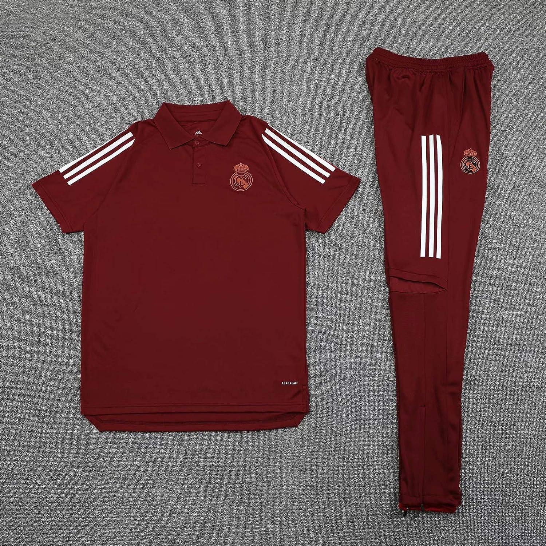 QJY Camisa de Jersey de Manga Corta Delgada para Hombre Juego de Polo Madrid Real F/útbol Sportswear Set