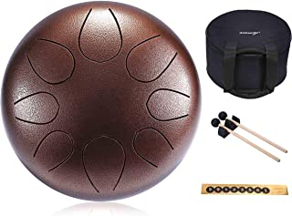 Asmuse Steel Tongue Drum 8 Notes 10 Inch Pan Drum Percussion Steel Drum Instrument with Mallets, Mallet Bracket,Tonic Sticker and Travel Bag