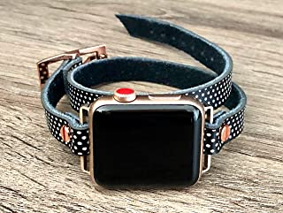 Double Wrap Polka Dots Leather Bracelet for Apple Watch Series 4 3 2 1 38-40mm & 42-44mm Case Adjustable Size Strap Pink Rose Gold Jewelry iWatch Fashion Band