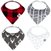 Parker Baby Bandana Drool Bibs – 4 Pack Baby Bibs for Boys, Girls, Unisex - Lumberjack Set