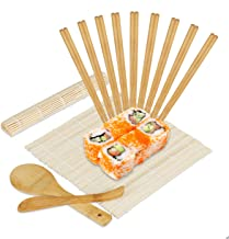 Relaxdays Sushi Set Bambus, 2 Sushi Matten, Reislöffel, Rei