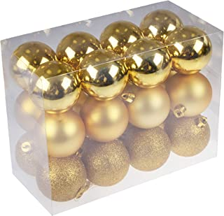 Clever Creations Shatterproof Christmas Tree Ornaments Large 60mm Gold Variety Pack Christmas Decor   24 Piece Set Perfect for Christmas Decorations