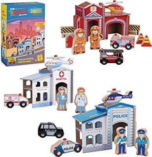 On Track USA 3 in 1 Emergency Police, Fire and Hospital Rescue Train Set. 40 Piece Accessories Set is Compatible with Thomas, Brio, Chuggington, Imaginarium, Melissa and Doug
