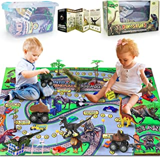 Pickwoo Dinosaur Toy Figures Playset w/ Activity Play Mat & Trees, 46''× 32'' Large Play Mat Dinosaur Pull-Back Cars to Create a Dino Jurassic World, for Boys & Girls Age 3+