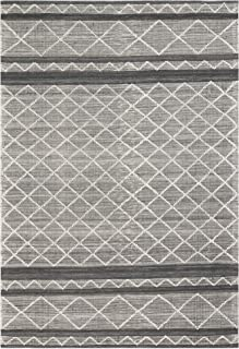 Liora Manne ARSR8845047 Artista Diamond Stripe Grey Indoor/Outdoor Runner Rug, 2' X 8' Ivory