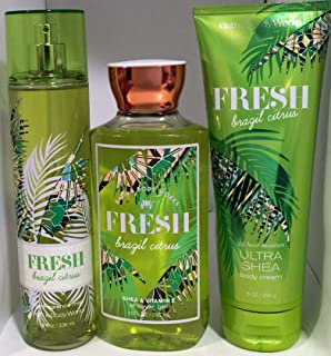 Bath & Body Works Fresh Brazil Citrus Fine Fragrance Mist 8 OZ FL, Ultra Shea Body Cream 8 FL OZ,& Shower Gel 10 FL OZ