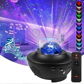 Proyector de Luz Estrellas LED, Lámpara Luces Nocturnas infantil con colores cambiantes con temporizador, altavoz Bluetooth, fiestas/Navidad/Halloween