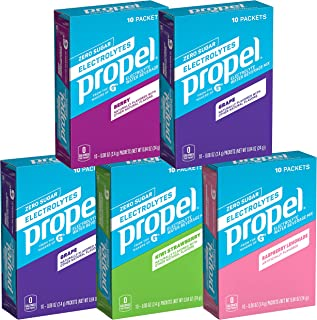 Propel Powder Packets 4 Flavor Variety Pack With Electrolytes, Vitamins and No Sugar (50 count) (Packaging May Vary)