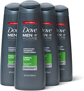 Dove Men+Care Fortifying 2 in 1 Shampoo and Conditioner for Normal to Oily Hair Fresh and Clean with Caffeine Helps Strengthen Thinning Hair 12 oz, 4 Count