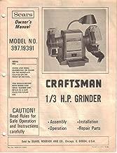 Sears Craftsman 1/3 HP Grinder, Owner's Manual Instructions, Model 397.19391