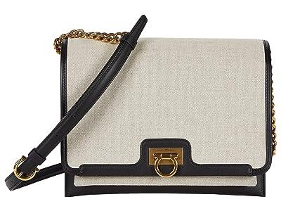 Salvatore Ferragamo Gancio Square Kuban Crossbody (Naturale/Nero) Handbags