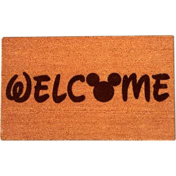 """Mickey Mouse Welcome Laser Engraved Coir Fiber Doormat 30"""" x 18"""""""