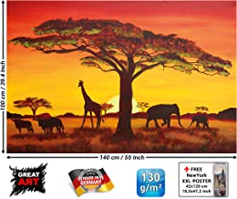 Poster – Sunset in Africa Wallpaper – Sunset Safari Animals Wall Picture Savannah Decoration Giraffe Buffalo Elefant Silhouettes XXL Wallposter Photoposter Mural (55 x 39.4 Inch / 140 x 100 cm)