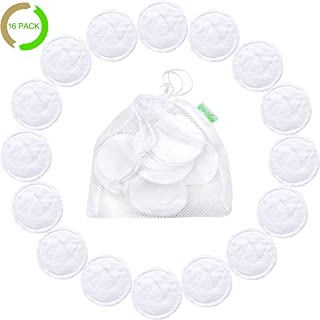 16 Pack Wegreeco Bamboo Makeup Remover Pads with Laundry Bag - Chemical free, Reusable Soft Facial and Wash Cloth Pads (Bamboo Cotton, White)