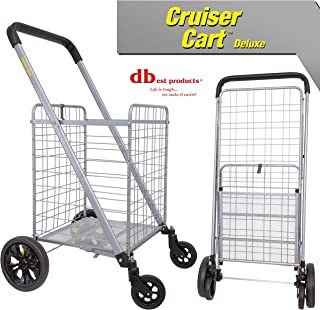 dbest products Cruiser Cart Deluxe Shopping Grocery Rolling Folding Laundry Basket on Wheels Foldable Utility Trolley Compact Lightweight Collapsible, Silver