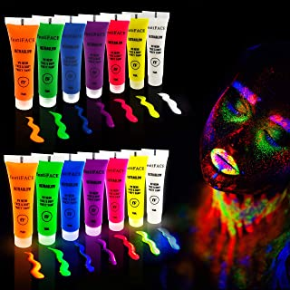 UV Neon Face and Body Black Light Paint Set | festiFACE Ultra Glow Super Fun Party Kit | 7 Large 0.5oz Blacklight Reactive Colors | Incredible Glowing and Fluorescent FX | 100% Non-Toxic