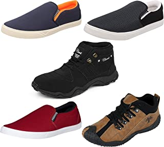Chevit Men's Combo Pack of 5 Casual & Sports Shoes (Loafers & Running Shoes)