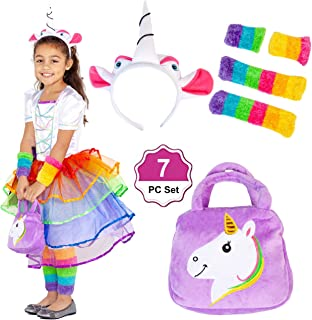 Little Jupiter Rainbow Unicorn Girls Party Dress 7PC Cosplay Costumes Pageant for Girls Unicorn Birthday Party 4-9 Years Old