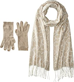 Calvin Klein - Oversized CK Logo Scarf and Gloves Set