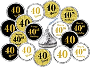 40th Birthday Kisses Stickers, (Set of 324) Chocolate Drops Labels Stickers for 40th Birthday, Hershey's Kisses Party Favors Decor, 9 Designs (36 Stickers of Each)