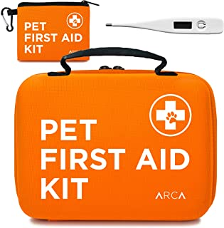 ARCA PET Cat & Dog First Aid Kit Home Office Travel Car Emergency Kit Pet Travel Kit – 100 Pieces with Thermometer and Bonus Mini First Aid Kit Pouch & Emergency Collar [Hard Case for Protection]