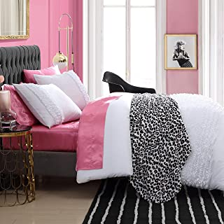Betsey Johnson | Romantic Ruffles Collection | Duvet Cover Set - Reversible & Wrinkle-Resistant Bedding with Zipper Closure, Includes Matching Shams, King, White