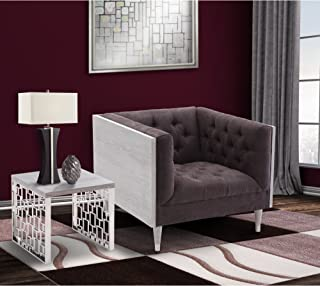 Armen Living Bellagio Sofa Chair in Grey Wash Wood Finish with Shiny Silver Legs Caps and Charcoal Fabric Upholstery, Charcoal