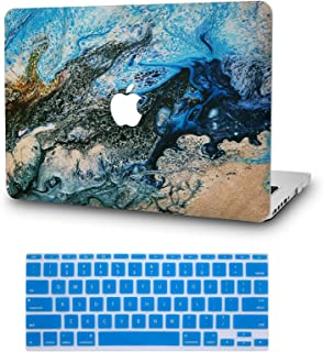 """KECC Laptop Case for MacBook Air 13"""" Retina (2020/2019/2018, Touch ID) w/Keyboard Cover Plastic Hard Shell Case A2179/A1932 2 in 1 Bundle (Sea)"""
