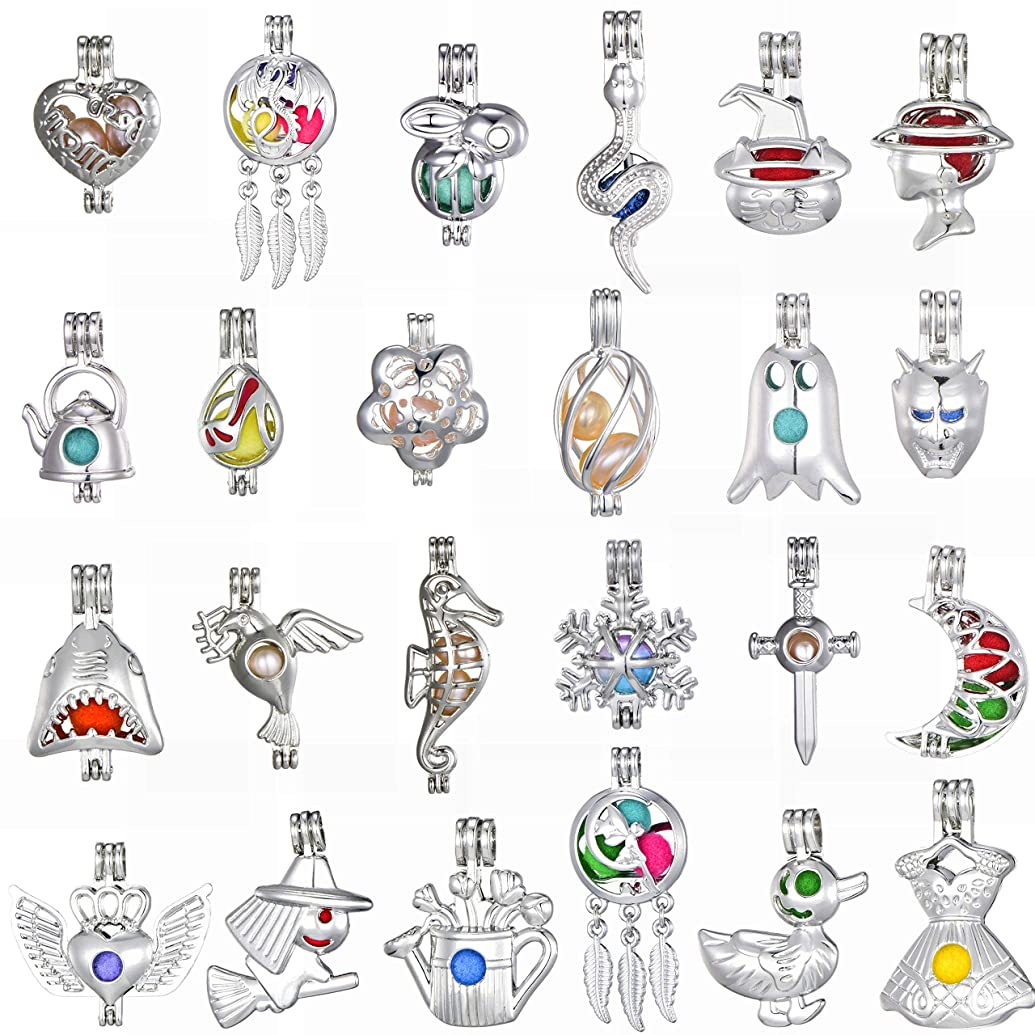 New Arrival Rhodium Plated Tone Pearl Cage Beads Cage Locket Pendant Jewelry Making Supplies/Essential Oil Scent Diffuser Cage Charms for Bracelet Necklace Earrings (10PCS)