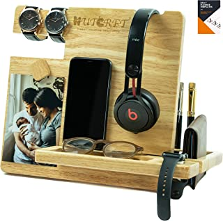 WUTCRFT - Wood Docking Station/Nightstand Organizer for Multiple Devices with Smart Watch Charging Slot, Headphone Stand, Photo Holder, and Accessory Holder, Perfect for Desk Organizer or Gift Giving