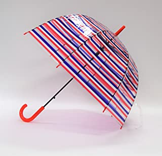 カフェディムリー カラフルボーダーバードケージ傘 トリコロール アカ 60㎝ ストライプ ボーダー ビニール傘 深張り傘 ドーム型 ポップなカラー