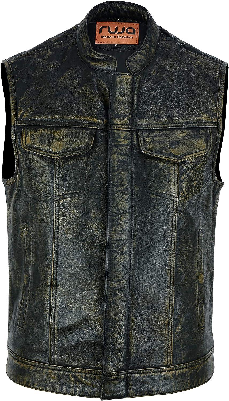 Ruja Men's SOA Style Vintage Classic Genuine Leather Vest, Brown