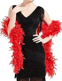 Feather Boa Supersoft Noir//Argent Burlesque Adulte Femmes accessoire robe fantaisie