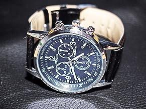メンズウォッチ 男性用腕時計 クロノグラフ風デザイン アナログ フェイクレザーベルト ブラック カジュアル ビジネス ドレスウォッチ 黒×黒
